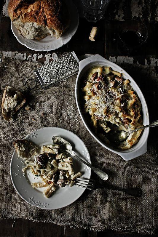 Pratos e Travessas: Macarronete cremoso com frango, cogumelos e chouriço # Small rigatoni with chicken, mushrooms and chouriço | Food, photo...