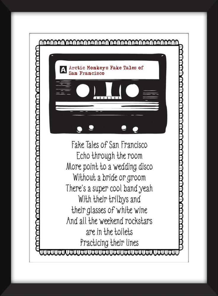 """Arctic Monkeys Fake Tales of San Francisco Lyrics Print, 11 x 14/8 x 10/5 x 7"""" A3/A4/A5 Typography Print by TheWordAssociation on Etsy"""