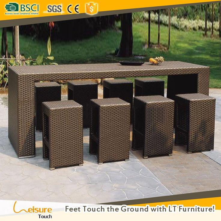 Popular design hotel outdoor wicker bar sets for used garden bistro pubs bar table set furniture