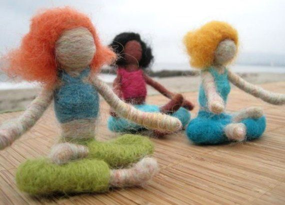 Carla the Needle Felted Yoga Doll red haired by boridolls on Etsy