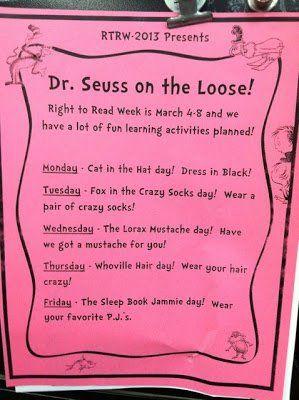A week of Dr. Seuss Dress Up days for Read Across America week
