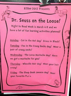 A week of Dr. Seuss Dress Up days for Read Across America week