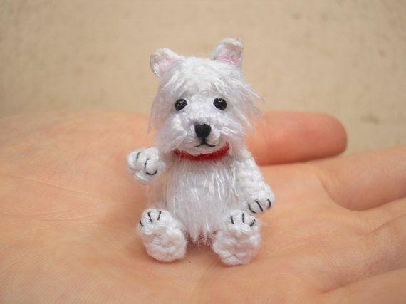 White Westie - Crochet Miniature Dog Stuffed Animals - Made To Order