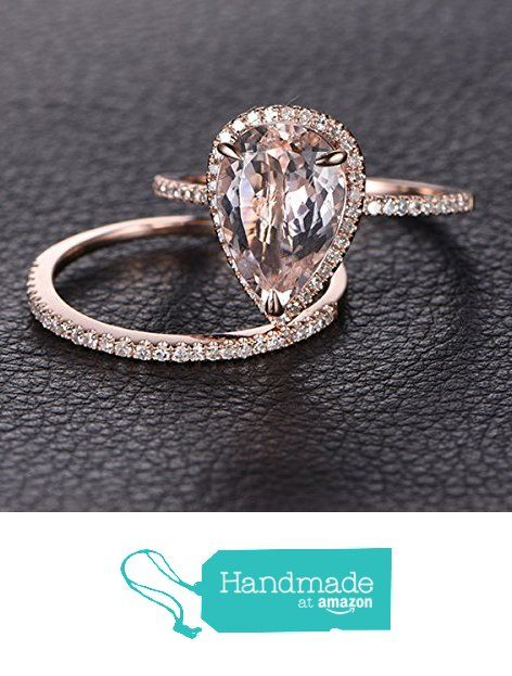 Pear Morganite Engagement Ring Bridal Set Pave Diamond Wedding 14K Rose Gold 8x12mm from the Lord of Gem Rings https://www.amazon.com/dp/B01I07X8RG/ref=hnd_sw_r_pi_dp_W1vGxbQ2NNDJT #handmadeatamazon