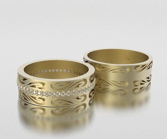 Eheringe Ehering sein und ihrs 14K Diamond Wedding von Vidarjewelry
