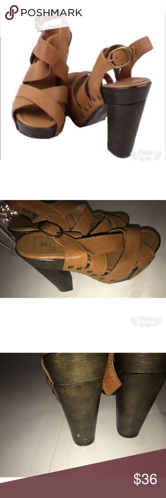 Lucky Brand 8 Tessa Platform Brown  Strappy 👡 New  Brand: lucky Brand Style: high Heels, buckle and stud Size: 8 Color: brown Material: leather, faux wood heels 1.5 inches in platforms and 3.5 in heels  Condition: Pre-Owned with some scuffing and shelf wear throughout the heels 👠 , see pictures. Lucky Brand Shoes Platforms