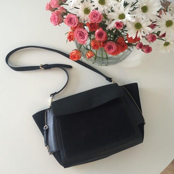 Zara Handbag Beautiful black suede and leather handbag with gold hardware Zara Bags Shoulder Bags