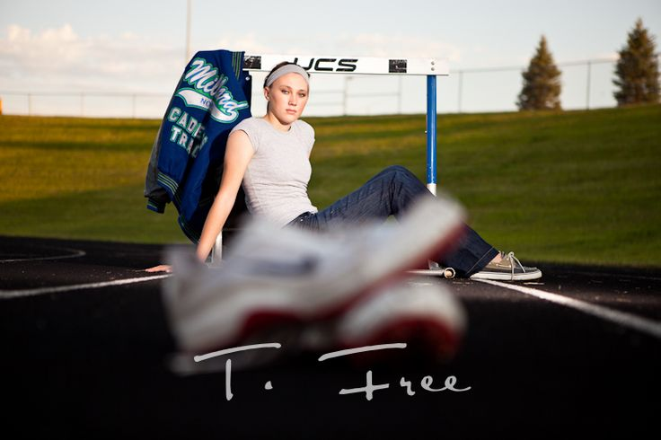 senior pictures with hurdles   Creative senior picture with track shoes and hurdle and letter jacket ...
