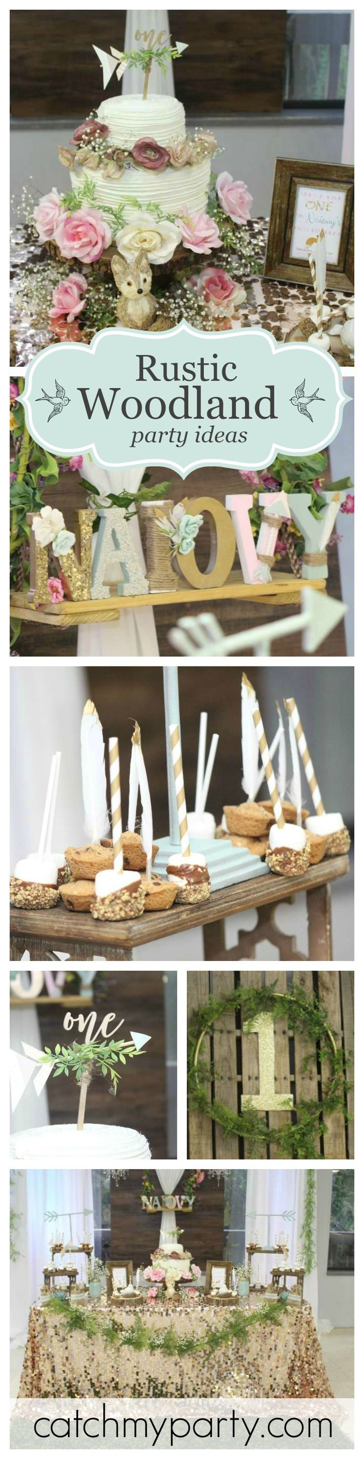 A beautiful Rustic Woodland First Birthday Party. Love the cake topper! See more party ideas at CatchMyParty.com