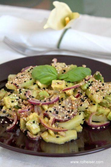 Сыроедческий Салат из Авокадо и Огурца