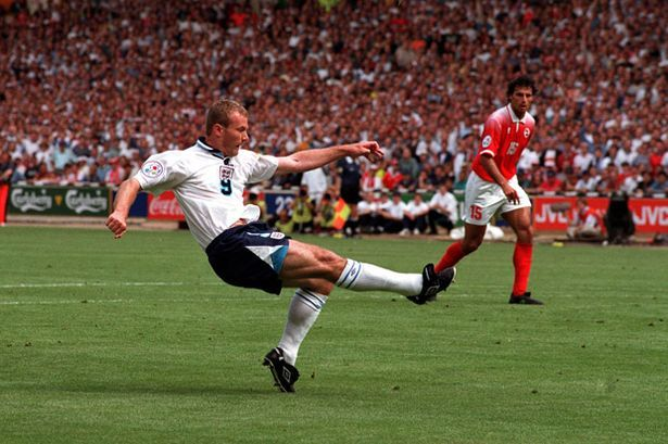 Alan Shearer in action at Euro 96 against the Swiss
