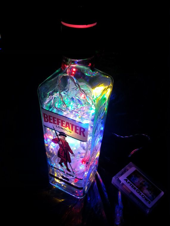 Upcycled beefeater london gin bottle light lamp multi for Light cocktails with vodka