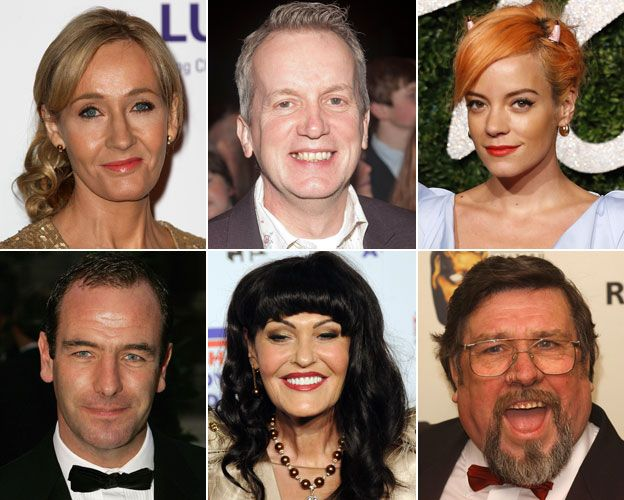The rich people who say they are happy to pay their taxes- pictures of: JK Rowling, Frank Skinner, Lily Allen, Robson Green, Hilary Devey and Ricky Tomlinson