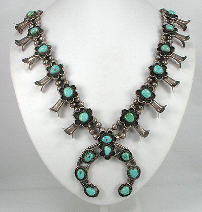 Vintage Navajo Squash Blossom Necklace native american jewelry