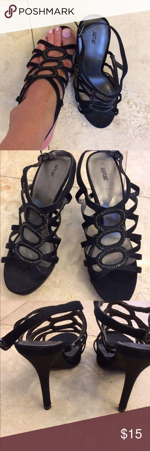 Apt. 9 darling 8.5 black sequin scrappy heels