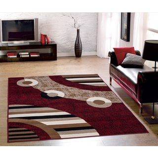 Sweet Home Modern Circles Red Area Rug 5 X 7