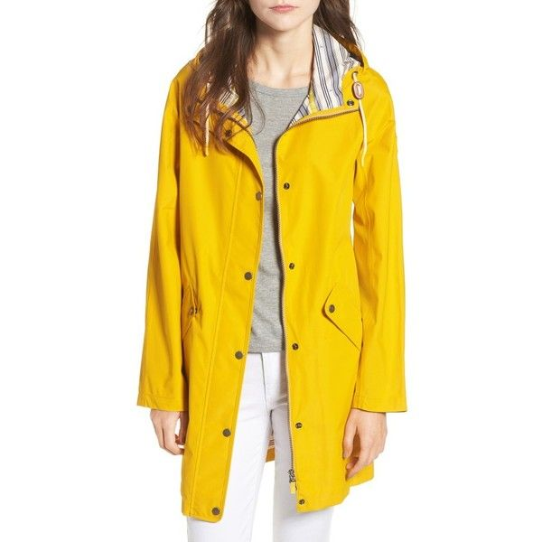 Women's Barbour Pegmatite Waterproof Hooded Raincoat (400 CAD) ❤ liked on Polyvore featuring outerwear, coats, yellow, hooded coat, waterproof raincoat, hooded raincoat, yellow coat and barbour raincoat