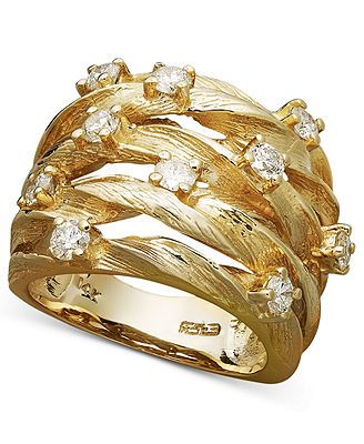 Not your average diamond ring - D'Oro by Effy Collection's dazzling design packs a sparkling punch. 14k gold band plays host to multiple round-cut diamonds (1 ct. t.w.) woven together. | 1 Carat Diamo