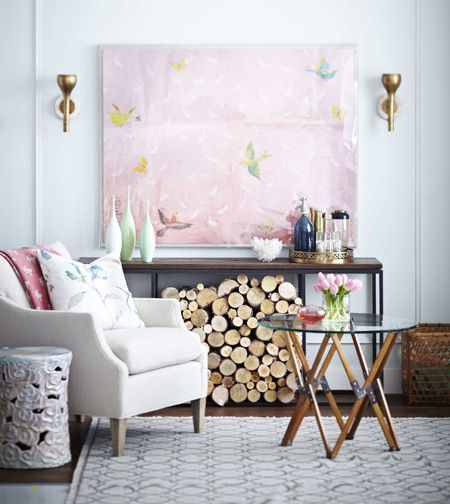 Pink art in reading room. painting swallows birds decor decoration livingroom interior
