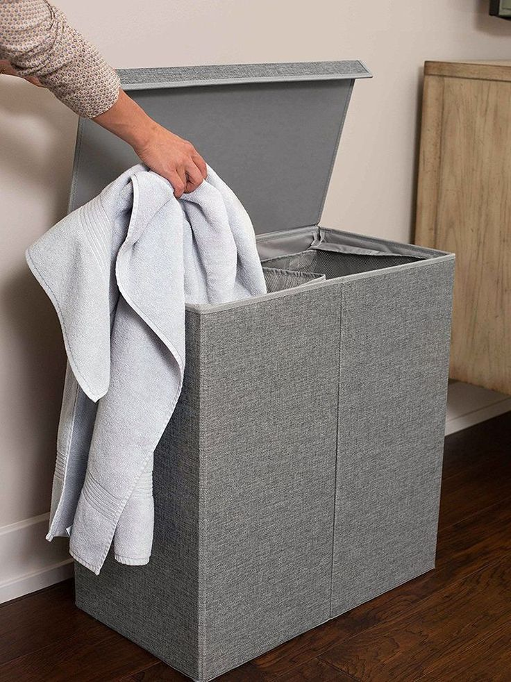 Double Large Laundry Basket Hamper With Lid And Removable Liners Washing Bin New