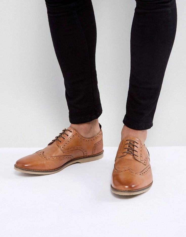 ASOS Causal Brogue Shoes In Tan Leather With Gum Sole - Tan