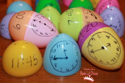 What Time is It? A fun telling time review game using leftover plastic eggs