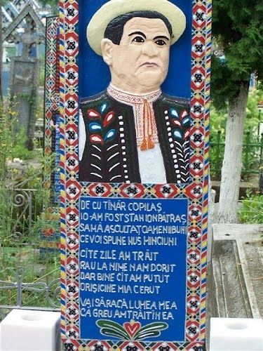 This is the actual tombstone of the creator of the Happy Cemetery in Romania. | The Happy Cemetery - UNESCO Heritage InEurope