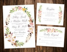 Bohemian Floral Wreath Wedding Invitation Set by papernpeonies