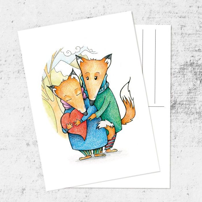 Для девушек, почтовые открытки рисованные