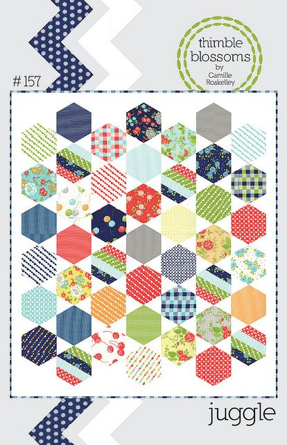 "A fun use of hexagons -- no ""y"" seams!Juggling Quilt, Pattern 157, Thimbleblossoms, Pattern Paper, Paper Pattern, Quilt Patterns, Quilt Kits, Hexagons Quilt, Thimble Blossoms"