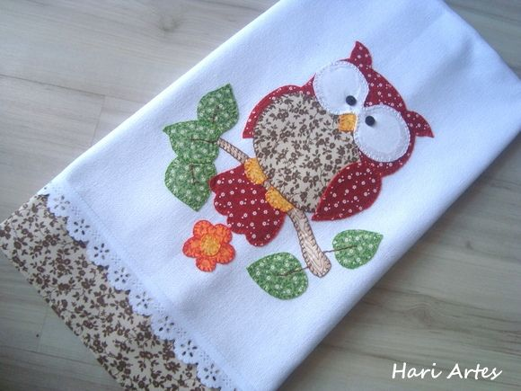 Pano de prato 100% algodão, 50 cm x 80 cm, com aplicações em patchwork, bordado…