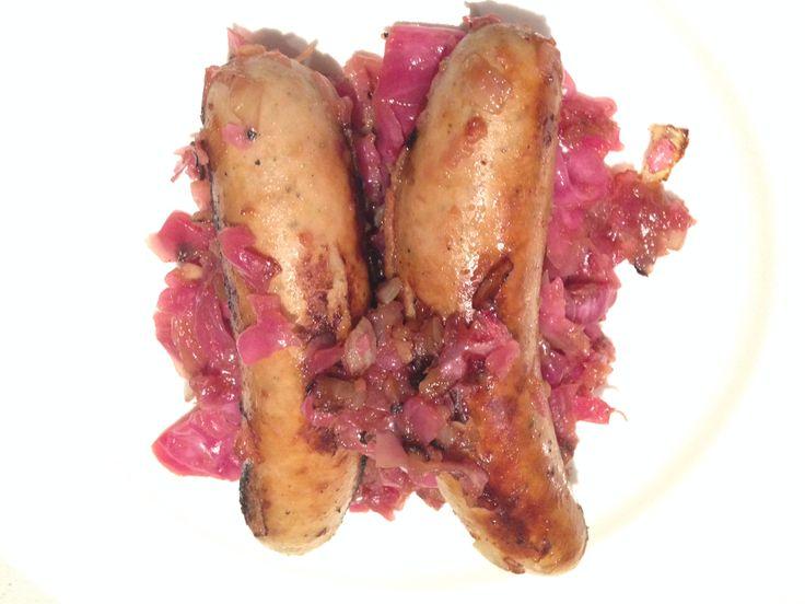 Bratwurst sausages with apple and sauerkraut