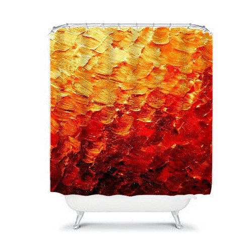 MERMAID SCALES 2 Deep Red Rust Orange Yellow Fine Art Shower Curtain by EbiEmporium, Modern Bathroom Home Decor Stylish Decorative Ombre Abstract Painting Stylish #homedecor #decor #interiors #orange #red #rust #waves #splash #ocean #colorful #design #art #showercurtain #shower #curtain #bathroom #modern #contemporary #chic #ombre #whimsical #mermaid #fire