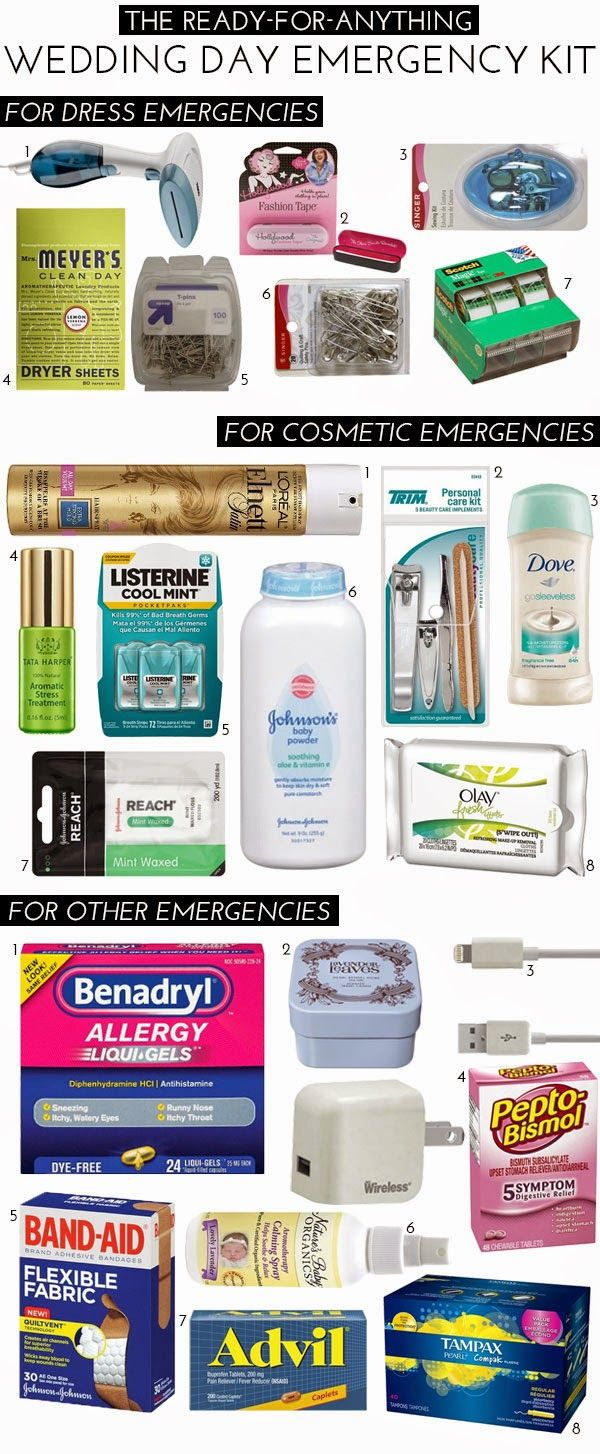 Don't Forget The Wedding Day Emergency Kit.  | Read more: http://whatwomenloves.blogspot.com/2015/02/dont-forget-wedding-day-emergency-kit.html