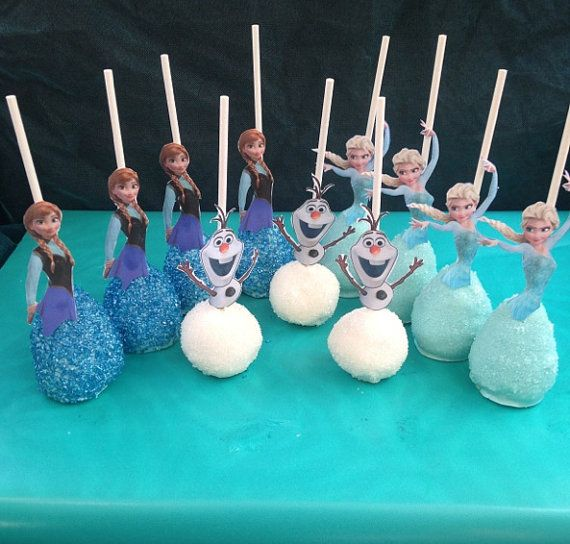 Cake pop dresses/body with a cut out top! Super cute for any Frozen birthday party! Each order comes with 12 cake pops (4 Elsa, 4 Anna, 4 Olaf). If