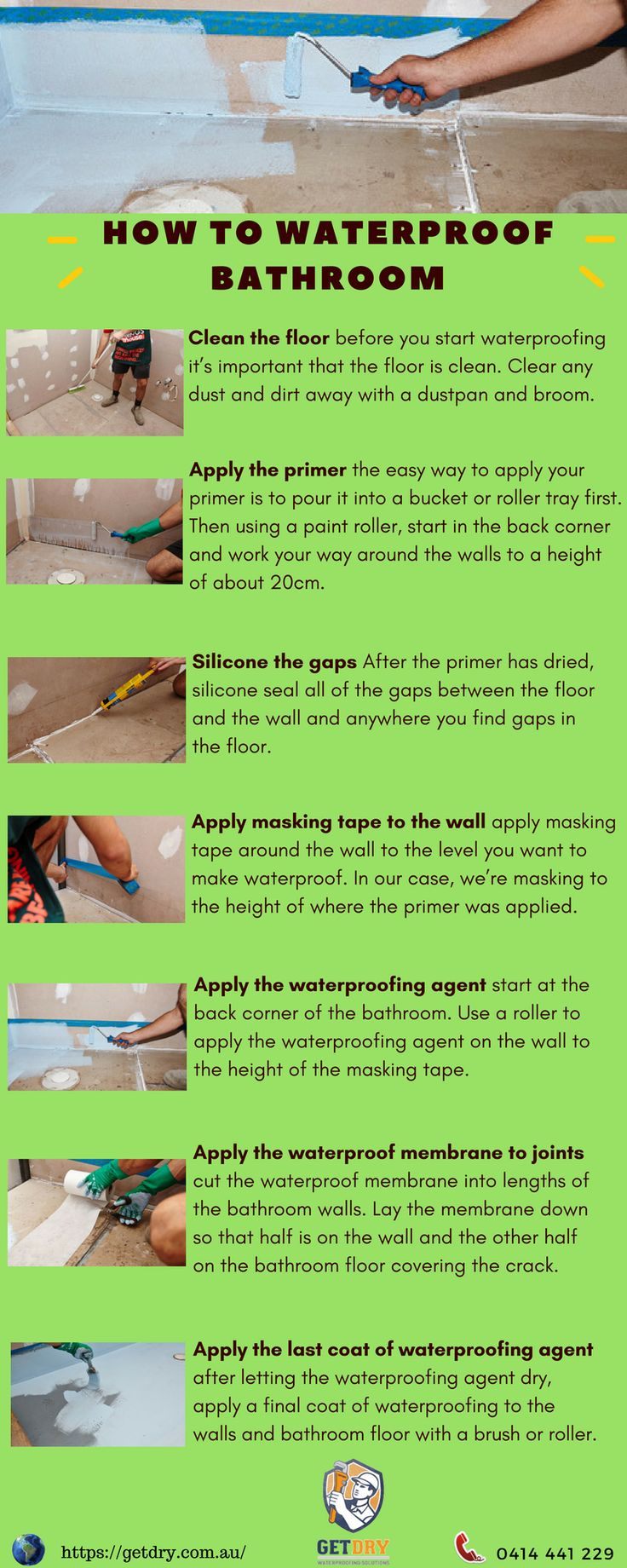 Here are some important steps that surely will help you to #waterproof #tile of bathroom.