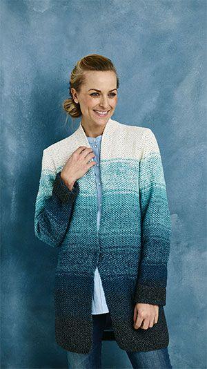 Blå jakke i perlestrik - få gratis strikkeopskrift der