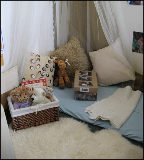 cosy area - swoft spaces give children a place to withdrawal when tired, overstimulated or when in need of quiet or alone time