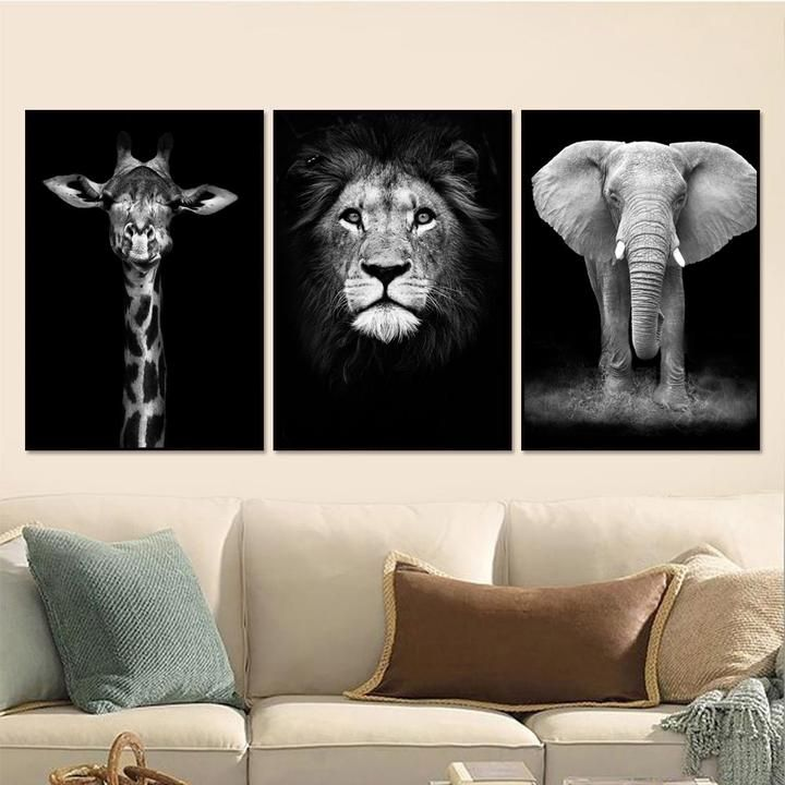 Black Elephant Giraffe Zebra Wall Art Canvas Painting Nordic Posters Pictures