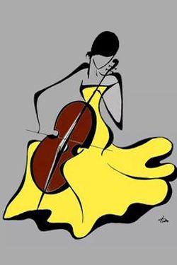 Woman with cello, in yellow dress_Nő csellóval, sárga ruhában_by Tatyana Markovtsev