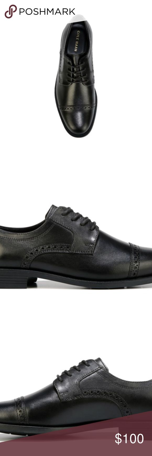 New Cole Haan Dustin Cap Brogue II Dress Shoes Cole Haan Dustin Cap Brogue II Dress Shoes  Dress shoes  New in Box  Available in 9 or 11.5  Black  Leather  Check out my other items for sale in my store! Cole Haan Shoes Oxfords & Derbys