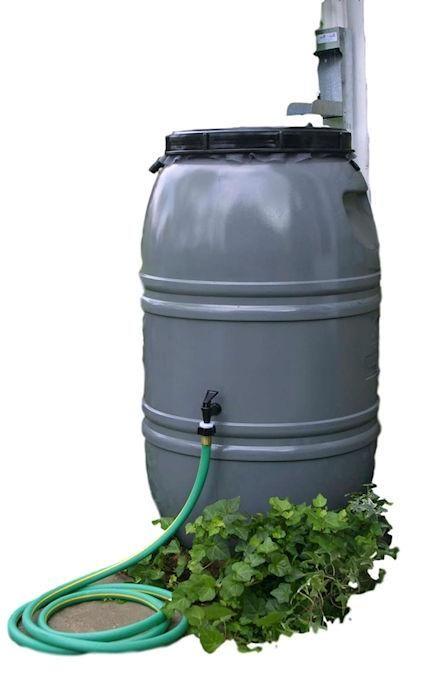Grey 60-Gallon Rain Barrel with Lid in HDPE Food Grade Plastic Resin