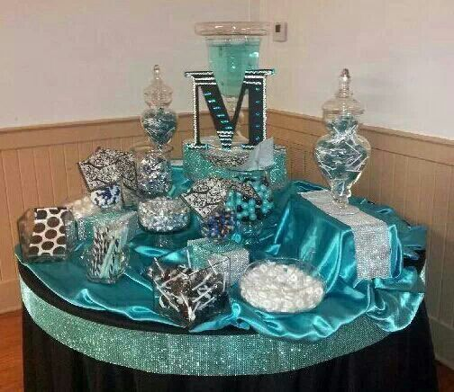 sweet 16 teal party decorations sweet 16 candy bar