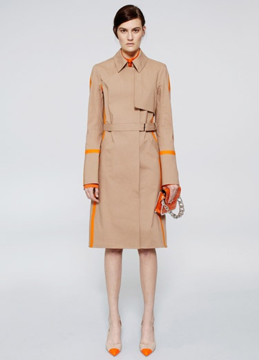 Reed Krakoff Resort 2013: classic trench enlivened with yellow stripes