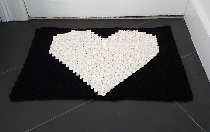 Crochet homemade doormat c2c Hæklet hjemmelavet dørmåtte c2c