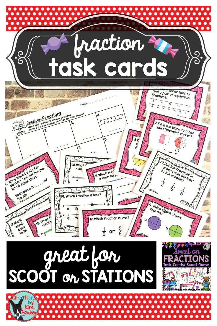 $ These Sweet on Fractions Task Cards are fun to use with students as they are learning about fractions or preparing for state testing. The cards can be used as task cards in a station, for Scoot, with small groups, the possibilities are endless! $