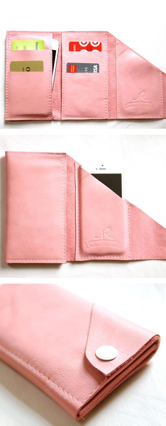 The Mini Wrap iPhone Wallet // pink leather