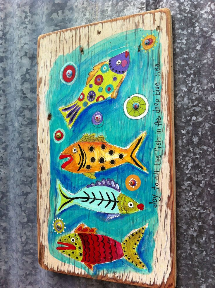 Joy to the Fish Original Painting on Repurposed by evesjulia12
