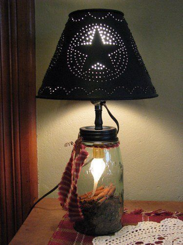 Mason Ball Jar Lamp with Metal Shade Compliment the charm and grace of your… #CountryPrimitive