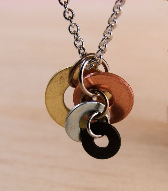 Pendant Necklace Mixed Metal Hardware Jewelry Industrial Jewelry Copper Brass Black Washers